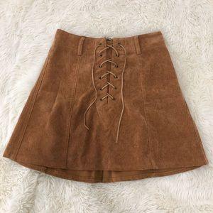 Showpo Lace up tan skirt